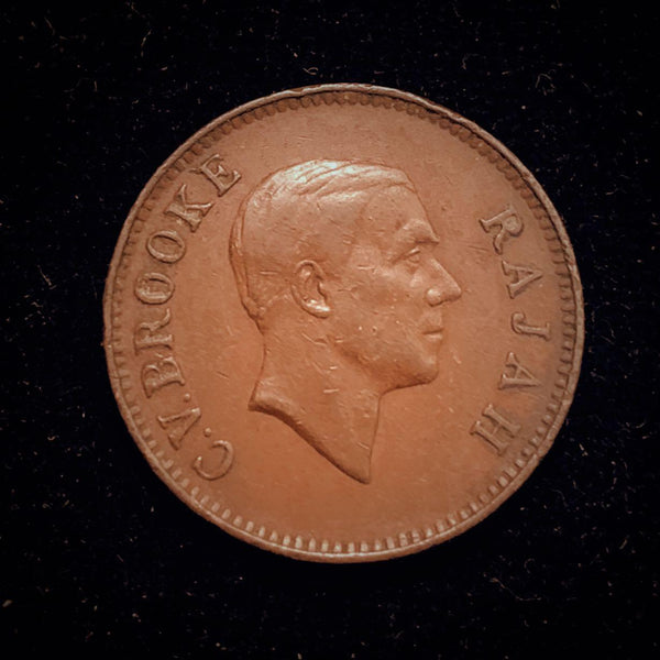 {Sold} 1930 Sarawak British 'White Rajah' Charles Vyner Brookes One Cent Bronze Coin.