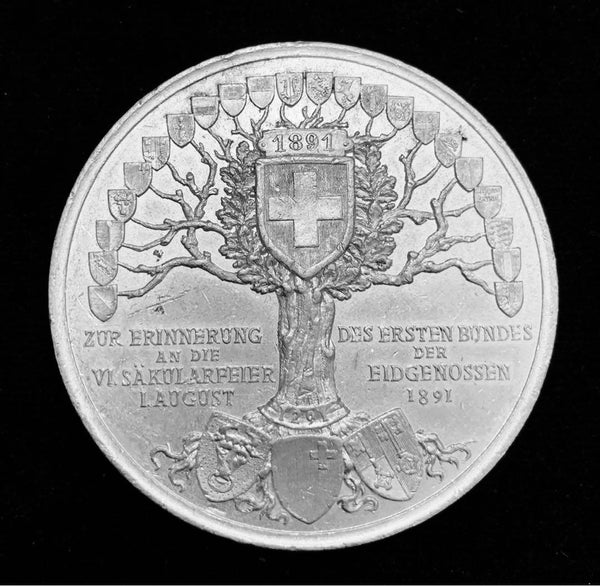 "{Sold} 1891 Old Suisse Confederacy 600th Year Anniversary 1291 - 1891  ""Rütlischwur Oath of Everlasting Unity & Eternal Brotherhood"" Large Aluminium Medal, 50 mm."