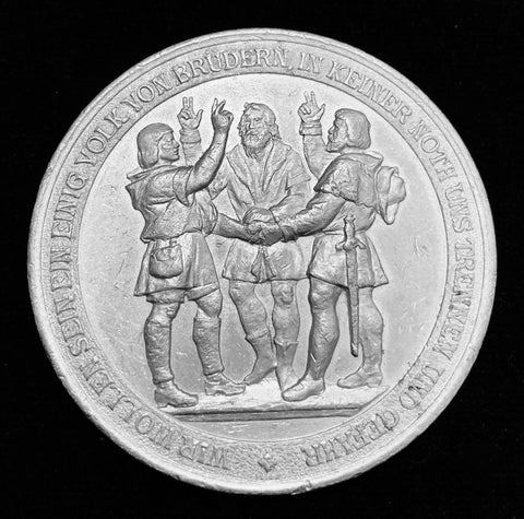 "1891 Old Suisse Confederacy 600th Year Anniversary 1291 - 1891  ""Rütlischwur Oath of Everlasting Unity & Eternal Brotherhood"" Large Aluminium Medal, 50 mm."