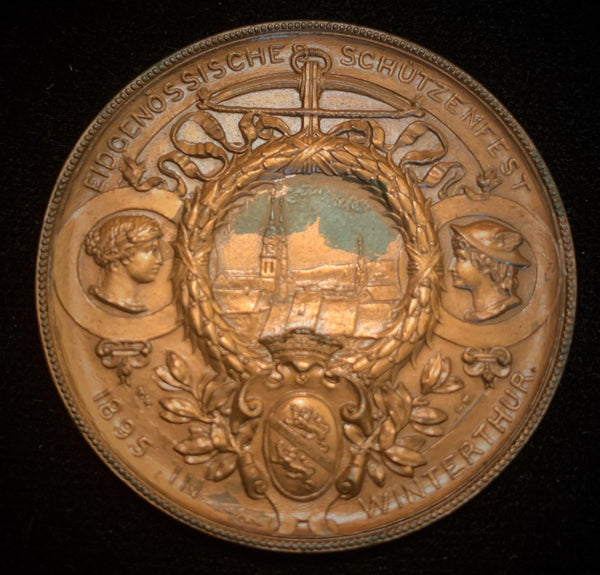 "1895 Old Suisse Confederacy Zurich Winterthur Schutzenfest Shooting Copper Medal ""Maiden of Winterthur"", 45 mm Mintage < 500."