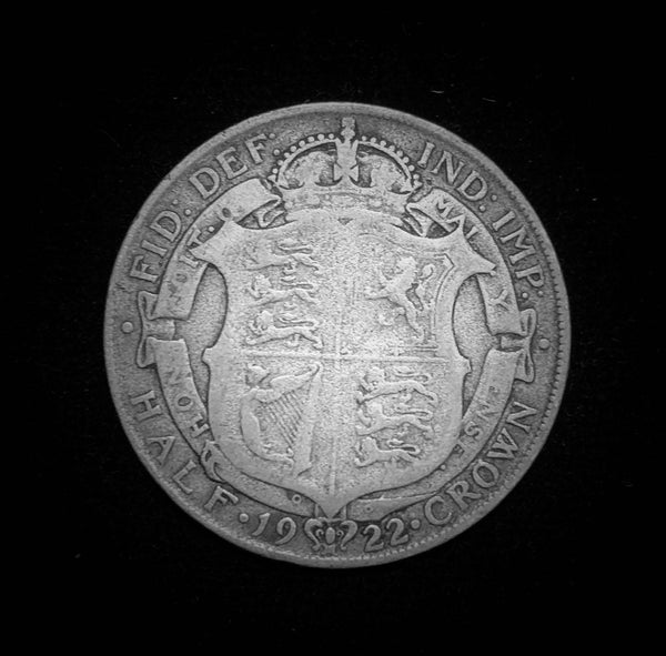 {Sold} 1922 Great Britain King George V Half 1/2-Crown Sterling Silver 925 Coin, Scarce Year! 32.3 mm.