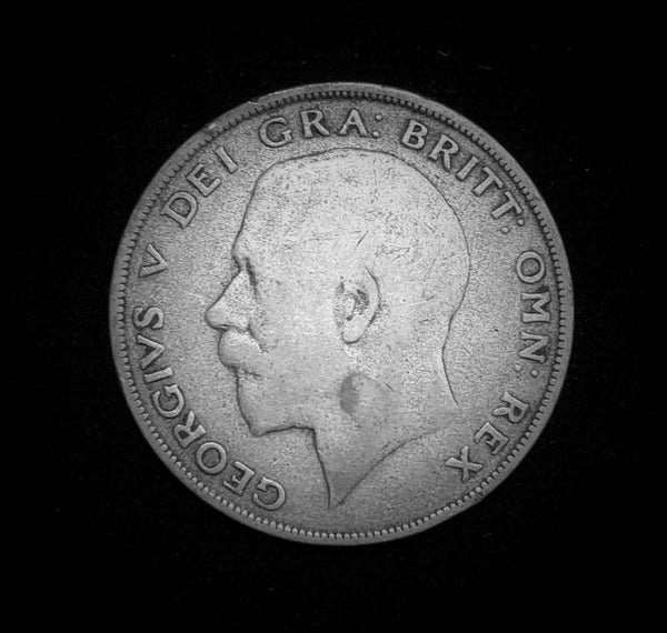1922 Great Britain King George V Half 1/2-Crown Sterling Silver 925 Coin, Scarce Year! 32.3 mm.