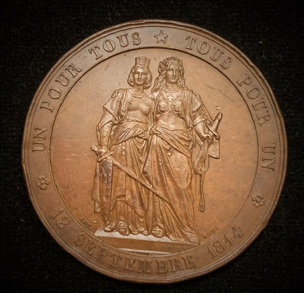 "1864 Old Suisse Confederacy 50th Year Anniversary of Geneva's Accession to the Suisse Confederacy 1814-1864 - Geneva Standing with Helvetia - ""One for All - All for One"", Large Copper Medal 45 mm."