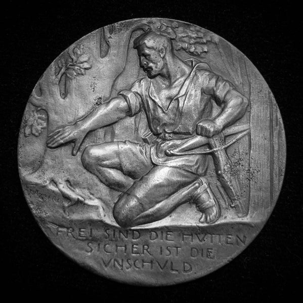 "1902 Old Suisse Confederacy Schwyz Küssnacht Schutzenfest Shooting Silver Medal ""Wilhelm Tell - Assassination of Gessler"", 45 mm Mintage < 50!"