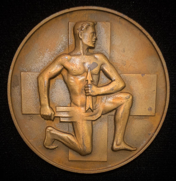 "1949 Suisse Confederacy Graubünden Chur Schutzenfest Shooting Bronze Medal ""The Suisse Youth"", 50 mm Mintage  < 250."