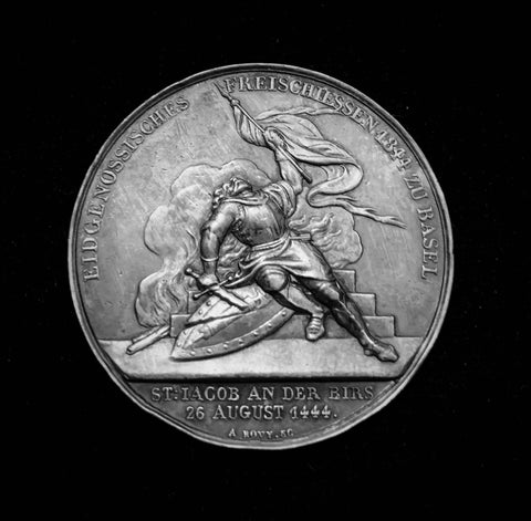 "1844 Old Suisse Confederacy Basel Schutzenfest Shooting Silver Medal ""Fallen Hero at the Battle of St. Jakob an der Birs - 1444, 400th Anniversary"", Thaler 38 mm Mintage < 500."