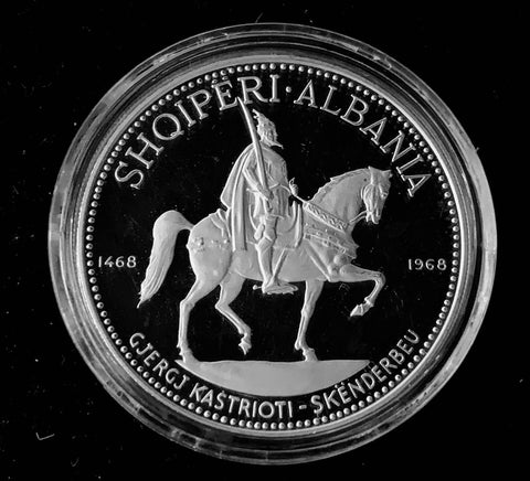 {Sold} 1970 Albania 500th Anniversary of Lord of Albania - Skanderberg's Death 1468-1968, 10-Leke Silver 999 Proof Coin, Mintage < 500 40 mm 33.3 Grs. Rare!