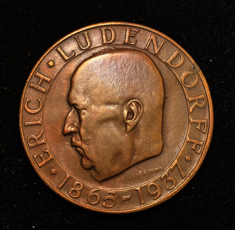 {Sold} 1937 Germany Third Reich Erich Ludendorff - The First Quartermaster General Commander of the German Army - Commemorating His Passing 1865 - 1937. Crown Bronze Medal with Rich Toning, 36 mm.