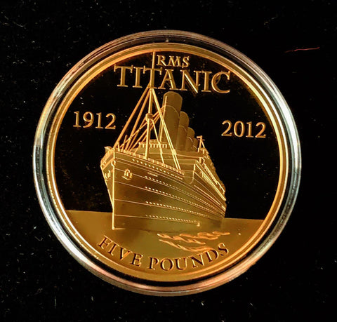 {Sold} 2012 Bailiwick of Jersey Queen Elizabeth - RMS Titanic Centenary (1912 - 2012), 5-Pounds Silver Sterling 925 Proof Gilt Coin, 38.61 mm.  Mintage < 1'912.