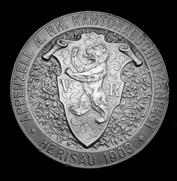 "1903 Old Suisse Confederacy Appenzell Ausserrhoden Herisau Schutzenfest Shooting Silver Medal ""Helvetia's Blessings on Her Champion"" - 500th Year Anniversary of Battle of Vögelinsegg, 45 mm Mint. < 50!"