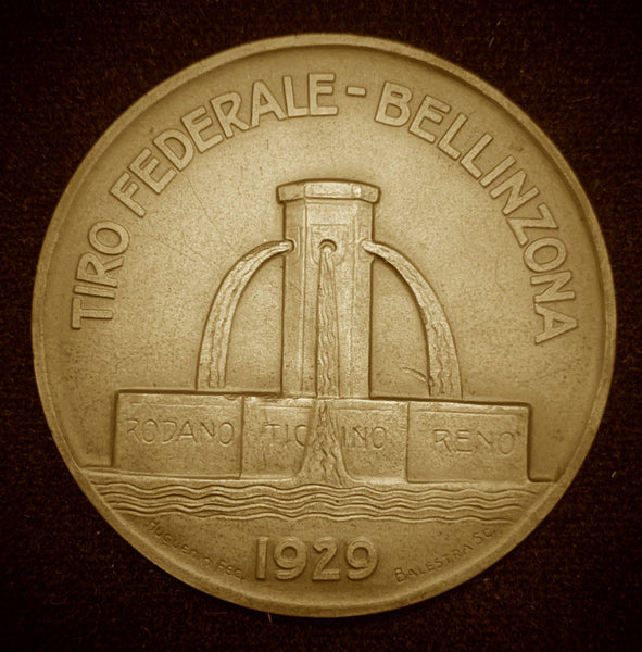 "1929 Suisse Confederacy Ticino Bellinzona Schutzenfest Shooting Bronze Medal ""Beautiful Maiden of Bellinzona"", 50 mm Mintage < 750."