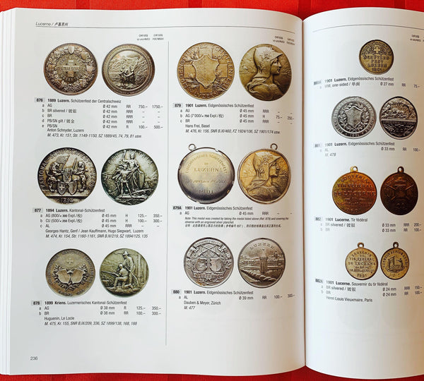 """Swiss Shooting Thalers & Shooting Medals"" Encyclopedia (English-Chinese Hardcover)- Most Comprehensive & Complete Write-ups of the Rich Historical Shooting Cultural & Numismatics (2'200+), Old Suisse Confederacy till Modern Switzerland, Large 632 Pages."