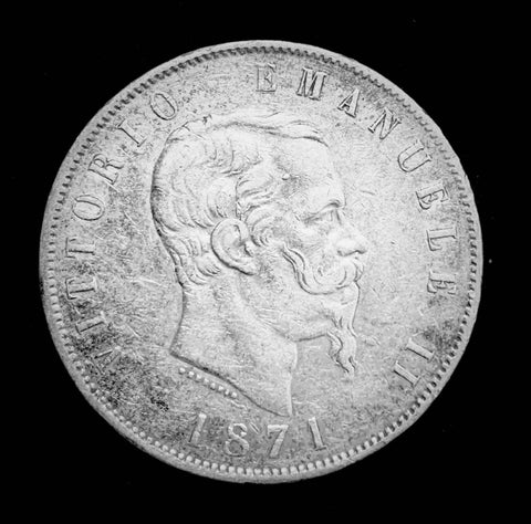 {Sold} 1871 Kingdom of Italy - King Vittorio Emanuele II 5-Lire Beautiful Large Silver Coin, Attractively Toned Great Condition Scarce.