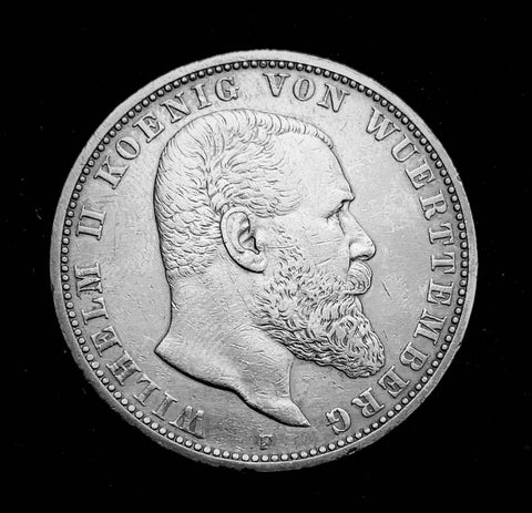 {Sold} 1907 German Empire Kingdom of Wurttemburg - King Wilhelm II 5-Marks Beautiful Large Silver Coin, Attractively Toned Great Condition V.Scarce.