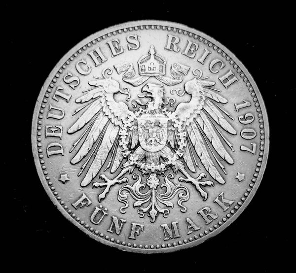 1907 German Empire Kingdom of Wurttemburg - King Wilhelm II 5-Marks Beautiful Large Silver Coin, Attractively Toned Great Condition V.Scarce.