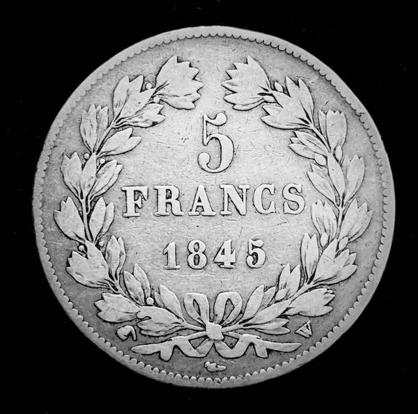 1845 Kingdom of France - King Louie Philippe I The Last King of France, 5-Francs Beautiful Large Silver Coin, Attractively Toned Great Condition Scarce.