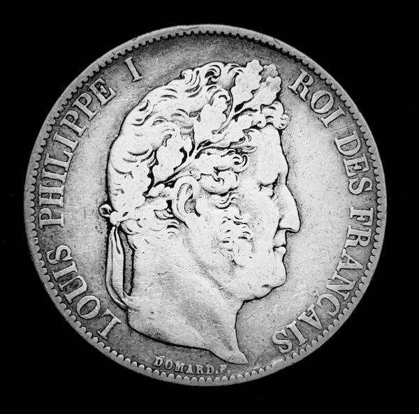 {Sold} 1845 Kingdom of France - King Louie Philippe I The Last King of France, 5-Francs Beautiful Large Silver Coin, Attractively Toned Great Condition Scarce.