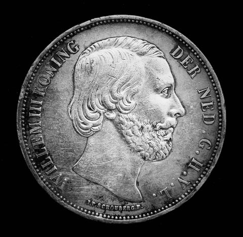 {Sold} 1870 Kingdom of the Netherlands - King Willem III 2-1/2 Gulden Beautiful Large Silver Coin, Attractively Toned Great Condition Scarce.