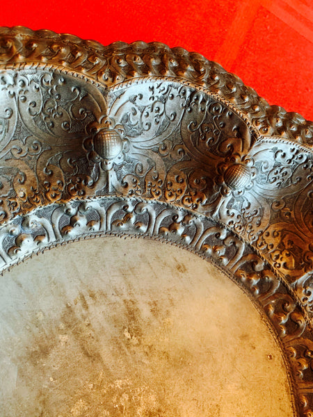 Olden Moorish Large Artisanal Ornately-handcrafted Pure Silver Display Plate, Intricate Moorish Flora Trimmings, Well Toned - 324.7 Grs > 10 O! Size 290 mm across x 50 mm height. .