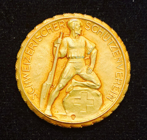"ca. Before 1960 Suisse Confederacy Schutzenfest Shooting Silver Golden-Gilt Medal ""The Suisse Sharpshooter"", Petite 30 mm Mintage < 500."