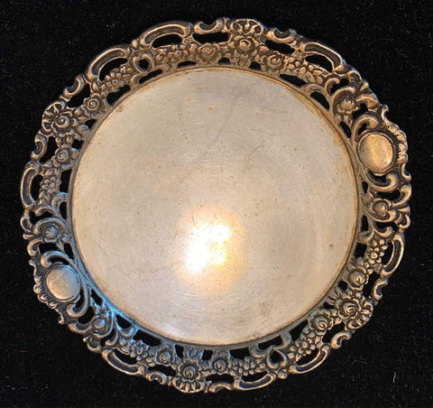 {Sold} circa. 1950's Old Vintage German AB Albert Bodemer Master Silversmith Lovely 835 Hallmarked Pure Silver (Not-Plated) Dish with Beautiful Intricate Flora Trimmings, 10.5 cm 49.9 Grs.
