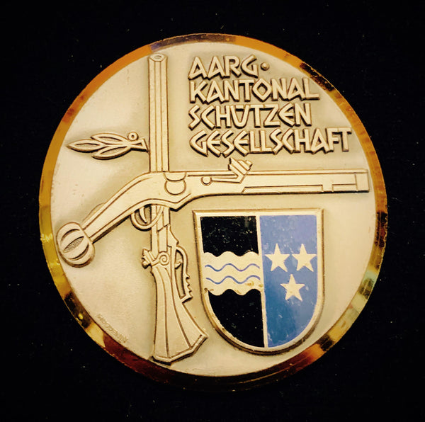 "circa. 1970's Suisse Confederacy Aargau - ""Sharpshooter's Rifles"" Schützenfest Shooting Bronze-Silvered Medal, Large 55 mm."