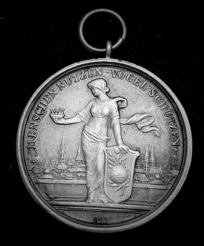 "{Sold} circa. Late 1800's - early 1900's German Empire World Federation for Canary Breeding ""People Uses Birds for Protection"", Beautiful Petite Silver Medal with Original Loop, 30 mm."