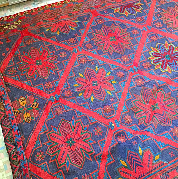 1960's Antique Russian Caucasian Soumak Rug Carpet, Museum Quality Tapestry, Unique Show Piece - Emporium Antiquities
