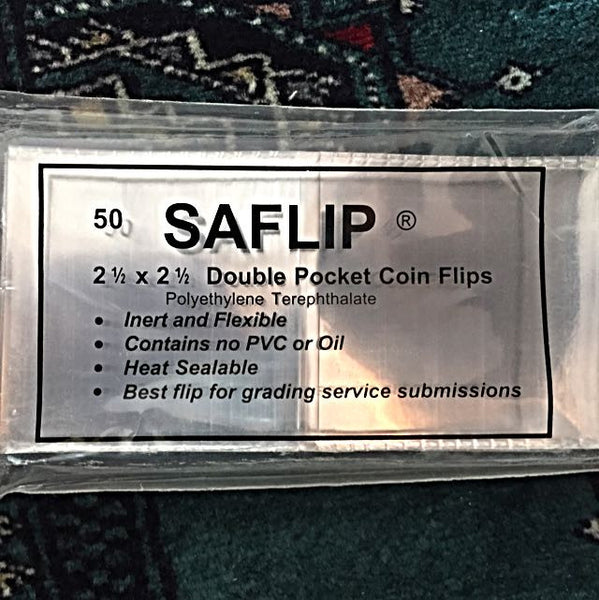 "SAFLIP - 50 Pieces 2.5"" X 2.5"" Double Pocket Coin Flips, ""Museum Use"", USA Premium Grade - Emporium Antiquities"