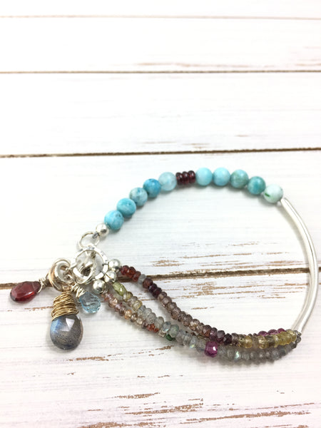 Multi Gemstone Sterling Silver Treasure Bracelet, 7.5""