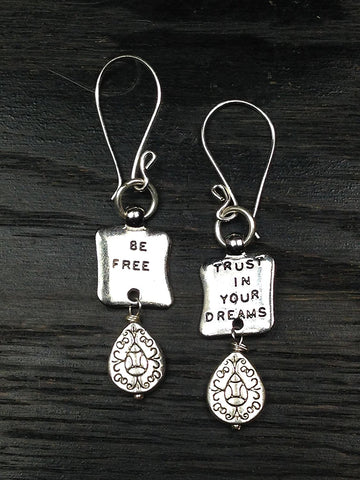 Be Free and Trust In Your Dreams Motivational Silver Earrings