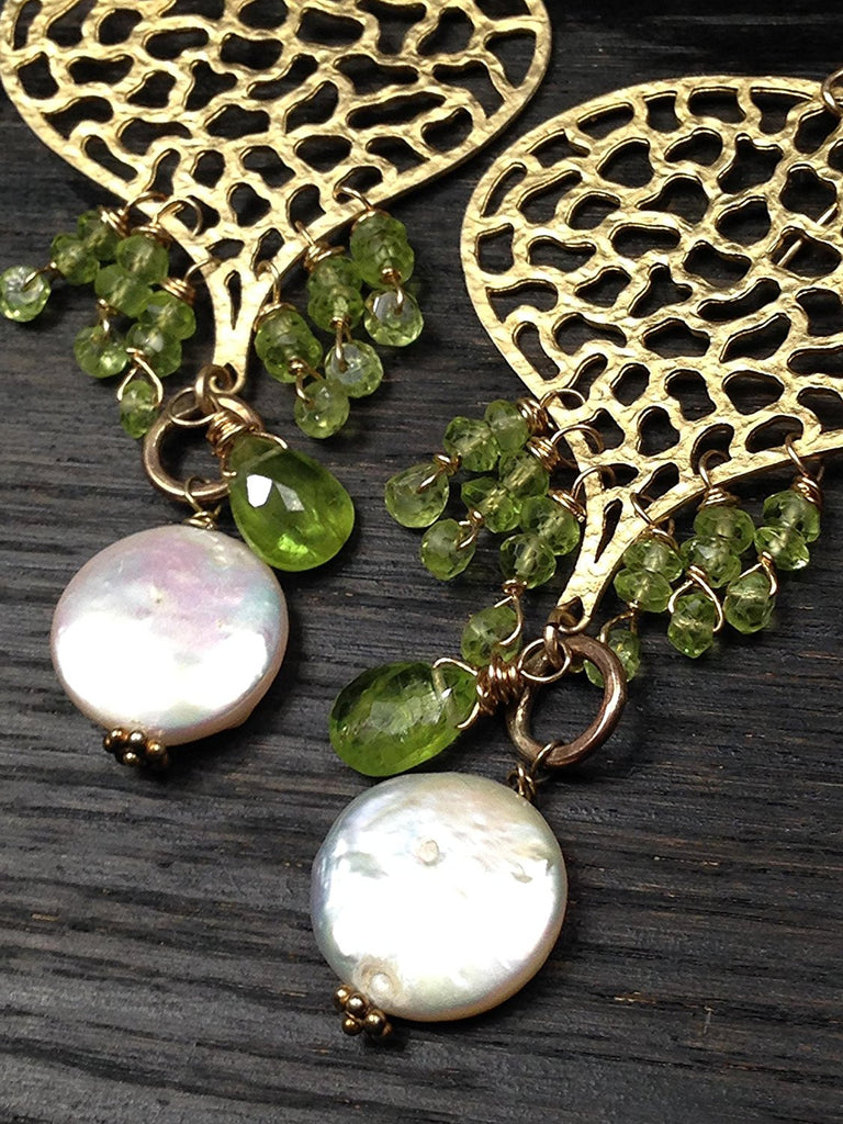 Filigree Peridot with Pearl Statement Gold Earrings