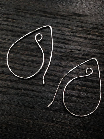 Hammered Sterling Silver Paisley Hoop Earrings