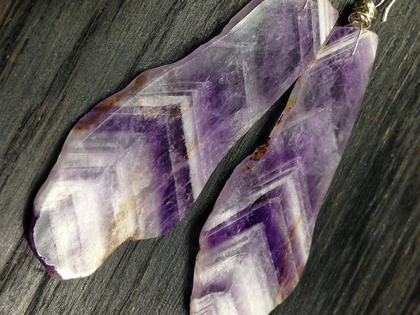 Amazingly Organic Amethyst Slice and Sterling Silver Earrings