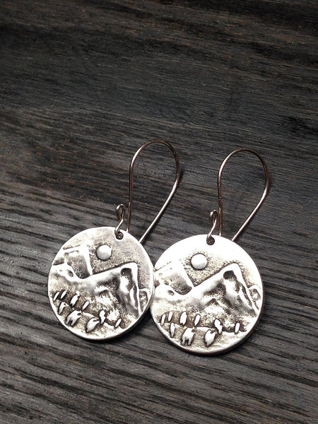 Mountain and Sun Scenic Drop Earrings in Silver