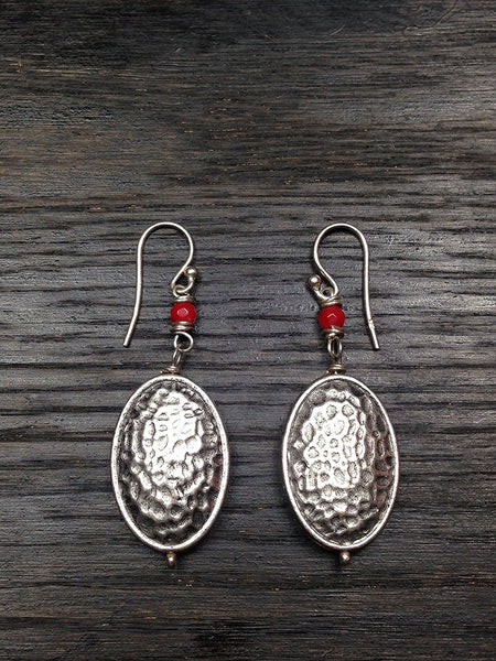 Coral Hammered Silver Earrings