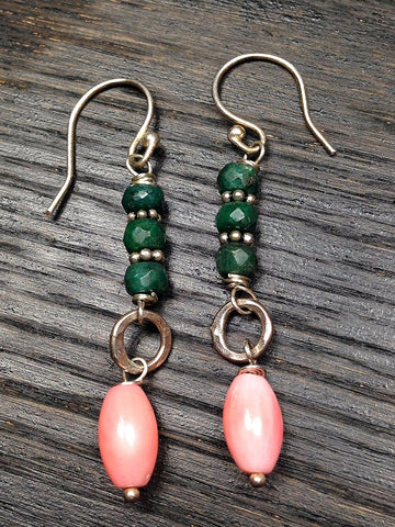 Emerald with Coral Sterling Silver Gemstone Earrings