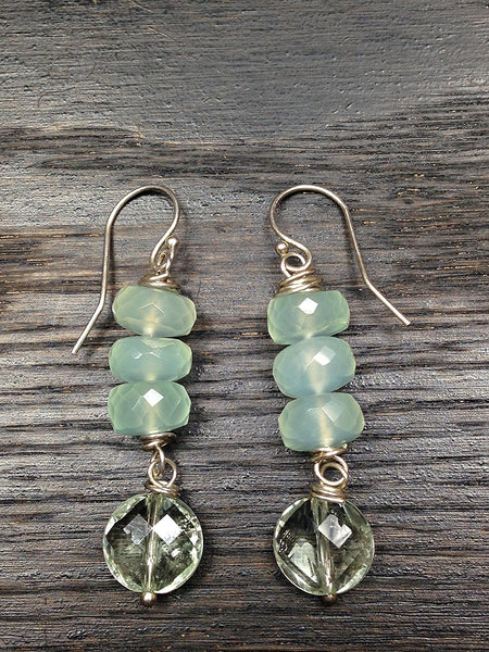 Prasiolite with Green Chalcedony and Sterling Silver Gemstone Earrings