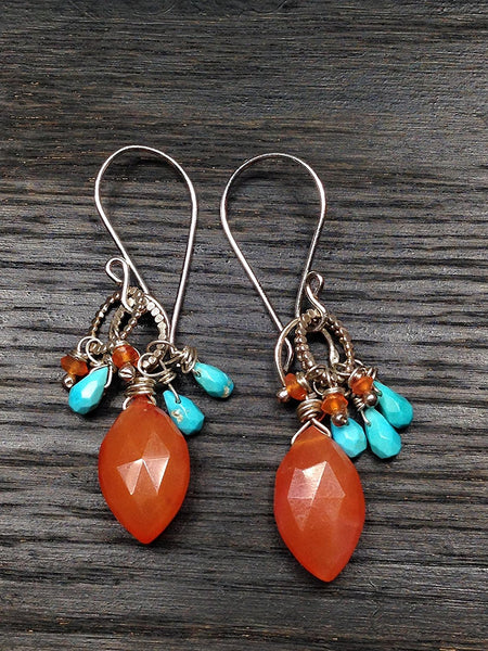 Carnelian with Turquoise Sterling Silver Earrings