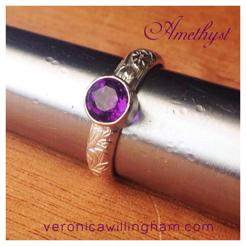 Amethyst & Sterling Silver Stacking Ring