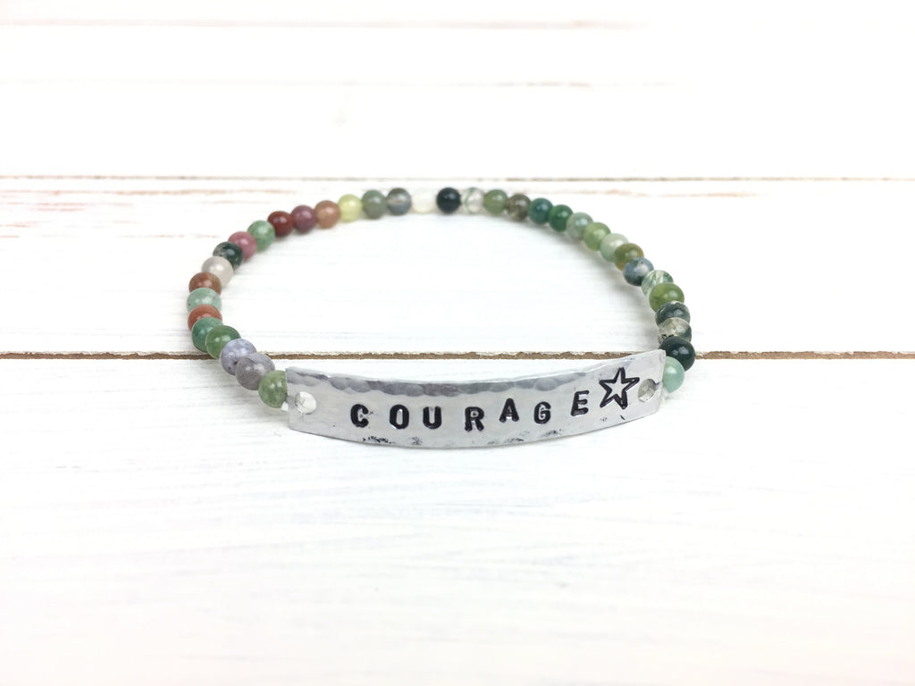 Indian Agate COURAGE Stretchy Bracelet