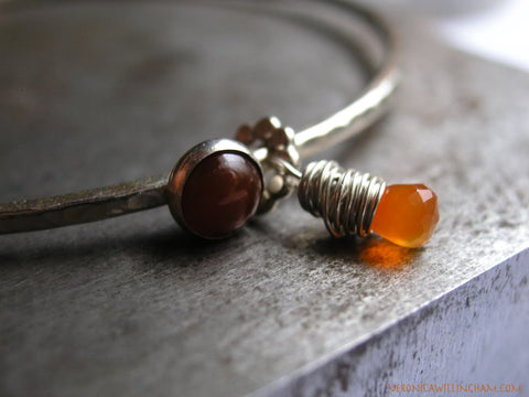 Calm Carnelian and Sterling Silver Bangle Bracelet