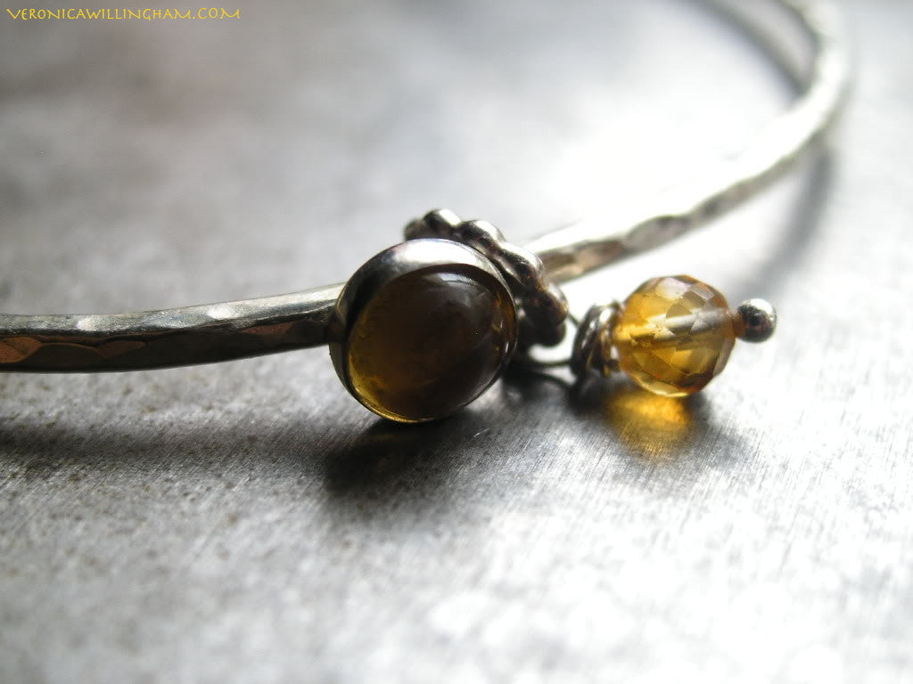 Centering Citrine and Sterling Silver Bangle Bracelet