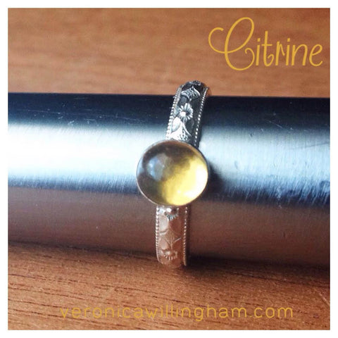 Citirine & Sterling Silver Stacking Ring