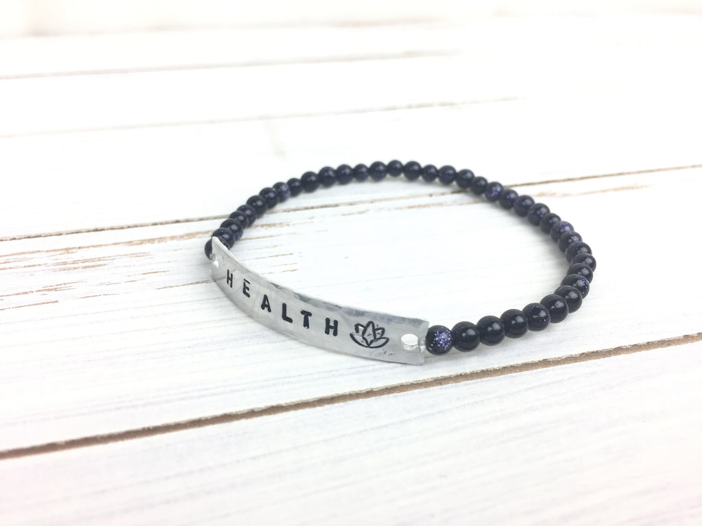 Blue Goldstone HEALTH Stretchy Bracelet
