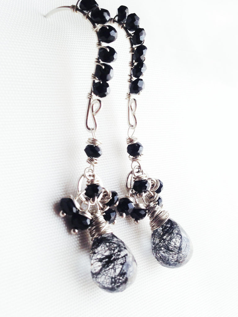 OOAK Black Tourmilated Quartz and Black Spinel Sterling Silver Dangle Earrings