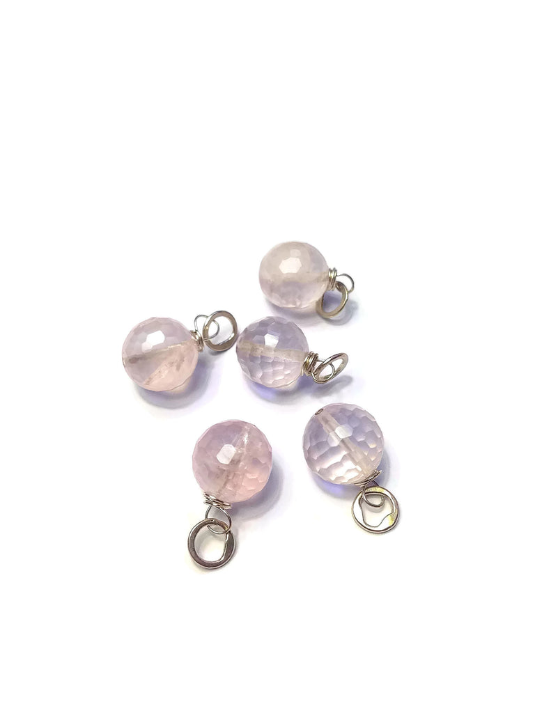 Large Faceted Round Rose Quartz Gemstone Bead and Sterling Silver Add A Dangle Charm Round Jump Ring