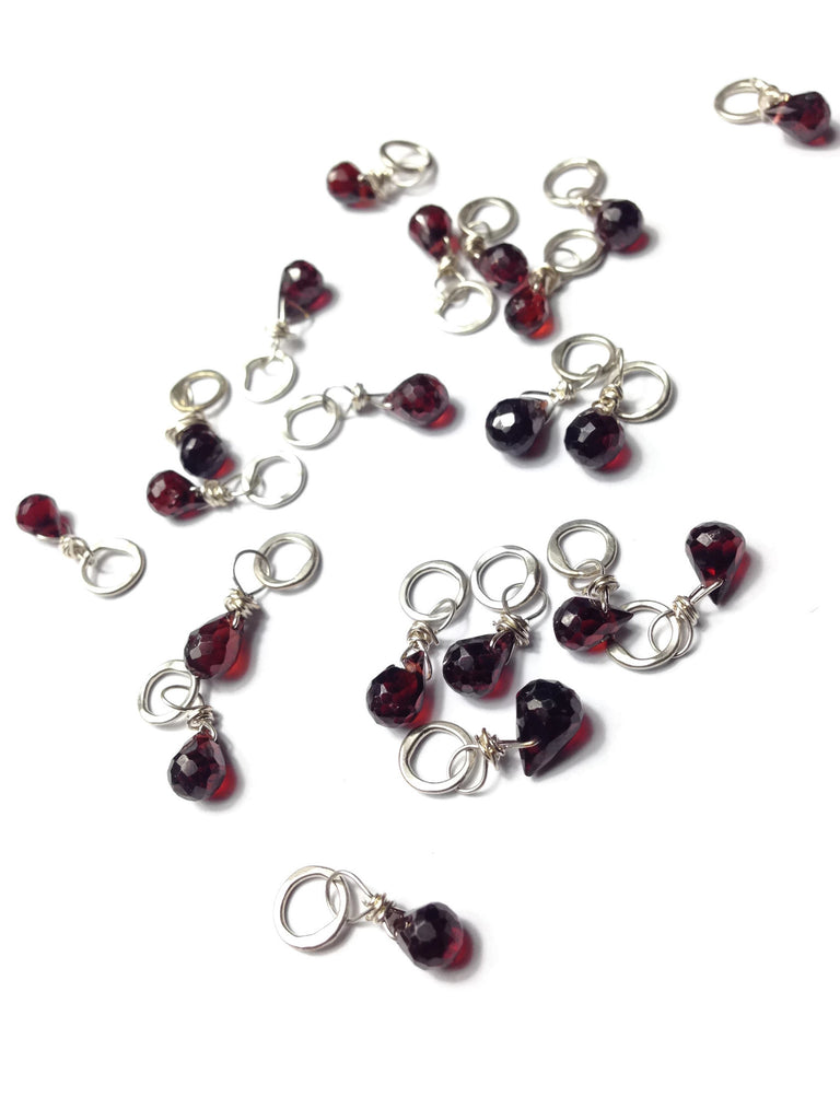 Faceted Briolette Teardrop Garnet Gemstone Bead and Sterling Silver Add A Dangle Charm Round Jump Ring