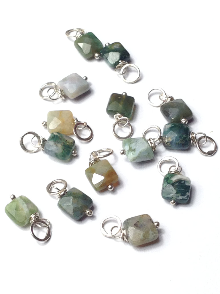 Faceted Puffed Tree Agate Square Sterling Silver Add A Dangle Charm Round Jump Ring
