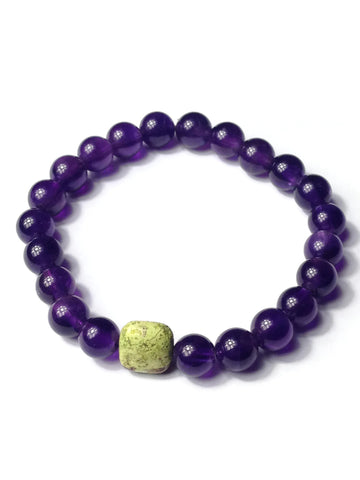 Amethyst and Gaspeite Adjustable Stretch Bracelet